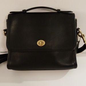 Coach Vintage Black Leather Court Purse Handbag